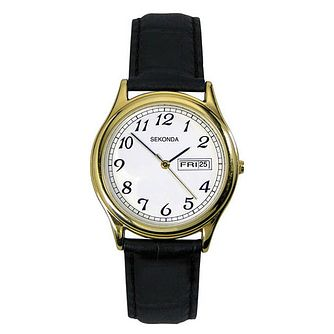 Sekonda Men's Black Leather Strap Watch - Product number 8602794