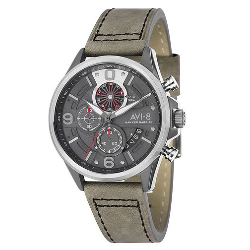 AVI-8 Men's Hawker Harrier II Grey Leather Strap Watch - Product number 8602891