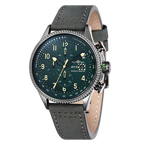 AVI-8 Men's Hawker Hunter Green Leather Strap Watch - Product number 8602905