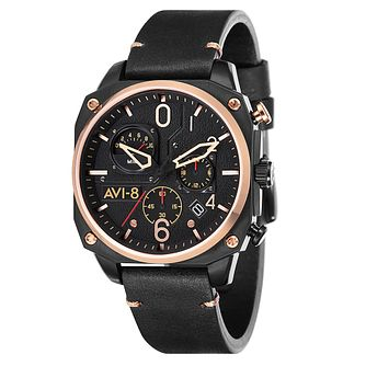 AVI-8 Men's Hawker Hunter Black Leather Strap Watch - Product number 8602972