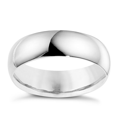 18ct white gold 6mm extra heavyweight D Shape ring - Product number 8604223