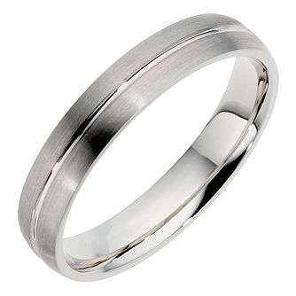 Palladium single groove wedding band. 4mm. - Product number 8606730