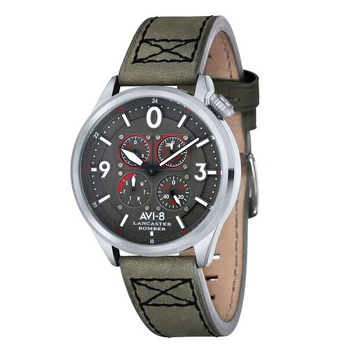 AVI-8 Men's Lancaster Bomber Grey Leather Strap Watch - Product number 8608105