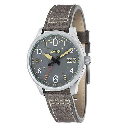AVI-8 Men's Hawker Hurricane Grey Leather Strap Watch - Product number 8608121