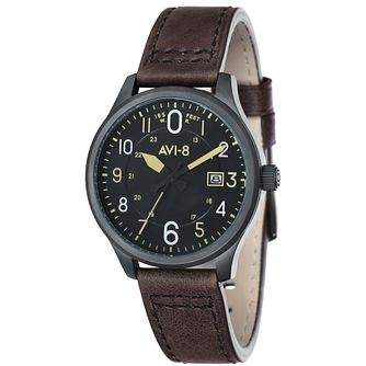 AVI-8 Men's Hawker Hurricane Black Leather Strap Watch - Product number 8608148