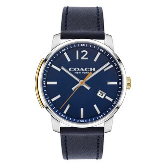 Coach Delancey Men's Stainless Steel Slim Navy Strap Watch - Product number 8609853