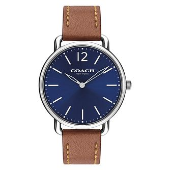 Coach Delancey Slim Men's Blue Dial and Brown Strap Watch - Product number 8609861