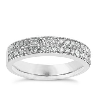 9ct white gold 0.50ct diamond milgrain wedding ring - Product number 8616140