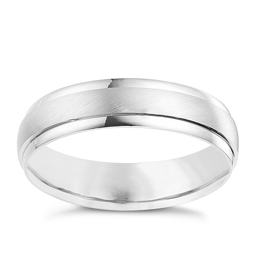 9ct white gold 5mm matt and polished ring - Product number 8617600