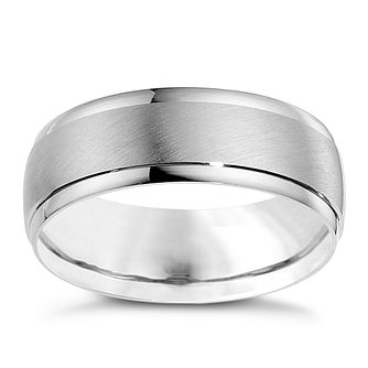 9ct white gold 7mm matt and polished ring - Product number 8617627