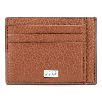 Hugo Boss Crosstown Men's Tan Leather Cardholder - Product number 8648646