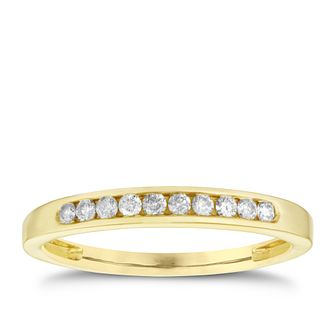 9ct yellow gold 0.15ct diamond eternity ring - Product number 8650446