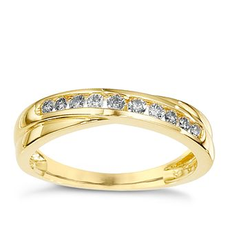 9ct Yellow Gold 1/4ct Diamond Crossover Ring - Product number 8650578