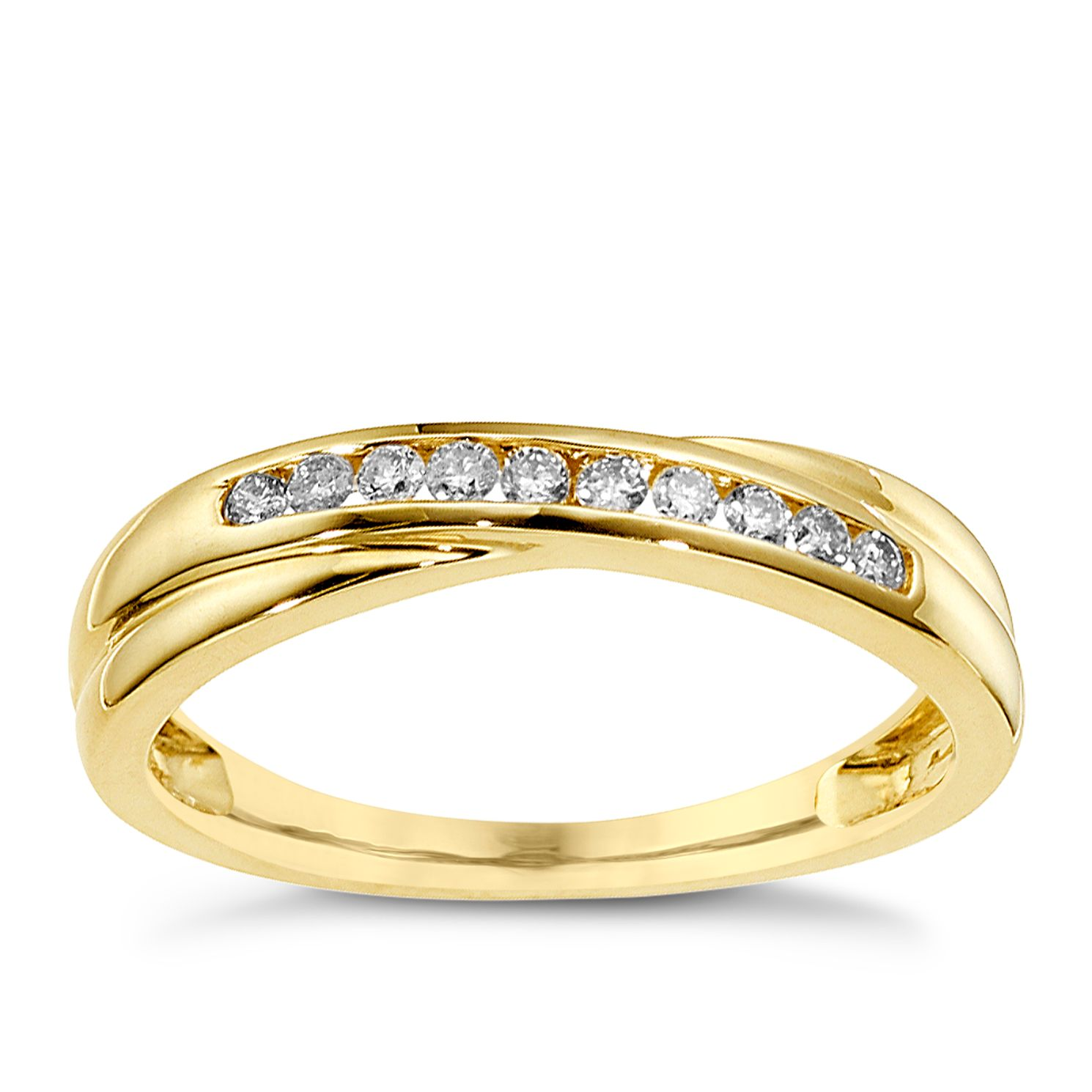 9ct Yellow Gold 0.15ct Diamond Crossover Eternity Ring - Product number 8650691