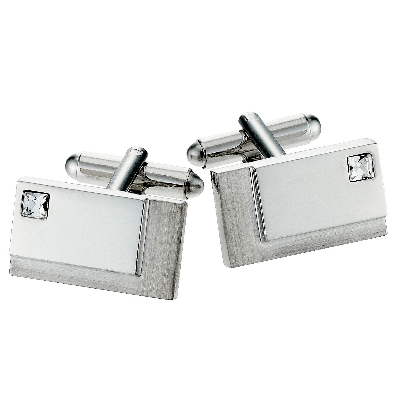 Rectangular Brush/Polished Crystal Cufflinks - Product number 8657130