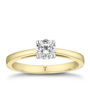 Tolkowsky 18ct yellow gold 2/3ct I-I1 diamond ring - Product number 8661251