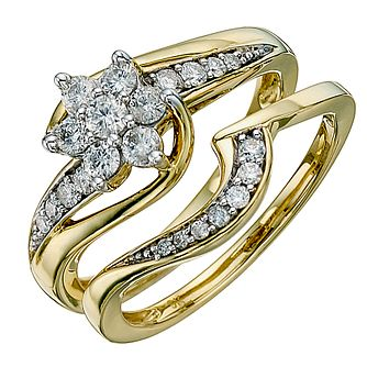 Perfect Fit 9ct Yellow Gold 1/2ct Diamond Twist Bridal Set - Product number 8671818