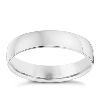 18ct White Gold 4mm Heavy D Shape Ring - Product number 8679266