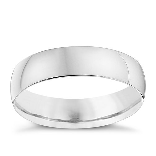 18ct White Gold 5mm Heavy D Shape Ring - Product number 8679509