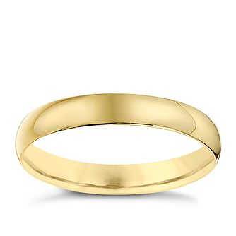 9ct Yellow Gold 3mm Heavy D Shape Ring - Product number 8680663