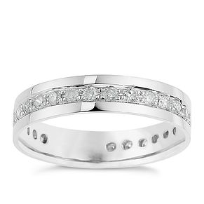 9ct White Gold Half Carat Diamond Pave Set Eternity Ring - Product number 8682577