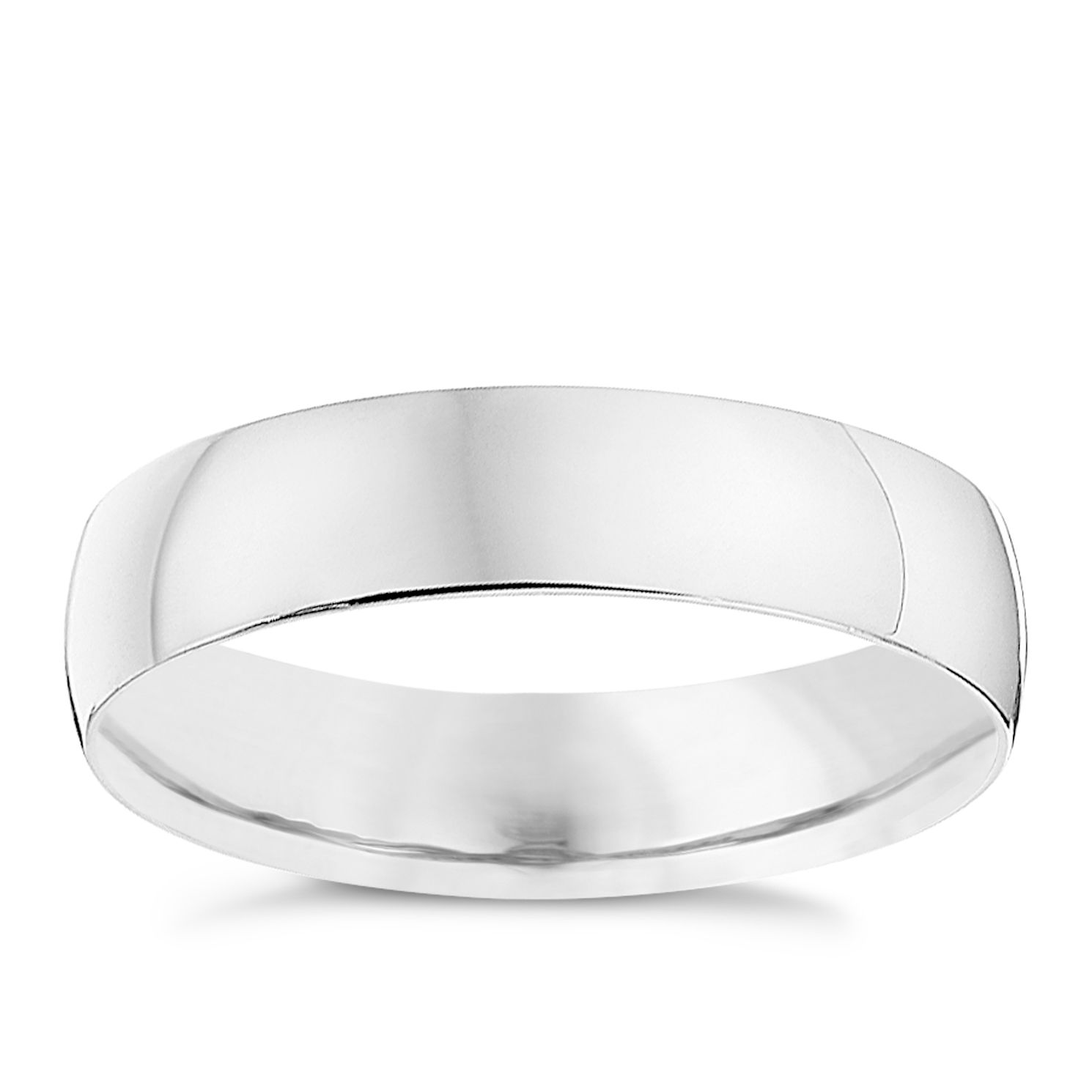 9ct White Gold 4mm Heavy D Shape Ring - Product number 8683115