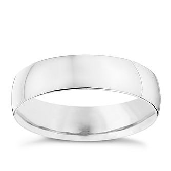 9ct White Gold 5mm Heavy D Shape Ring