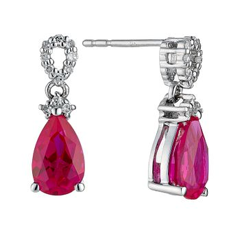 9ct white gold created ruby and diamond earrings - Product number 8687471