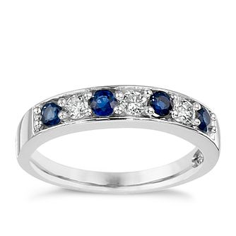 18ct White Gold Sapphire & 0.20ct Diamond Eternity Ring - Product number 8688036