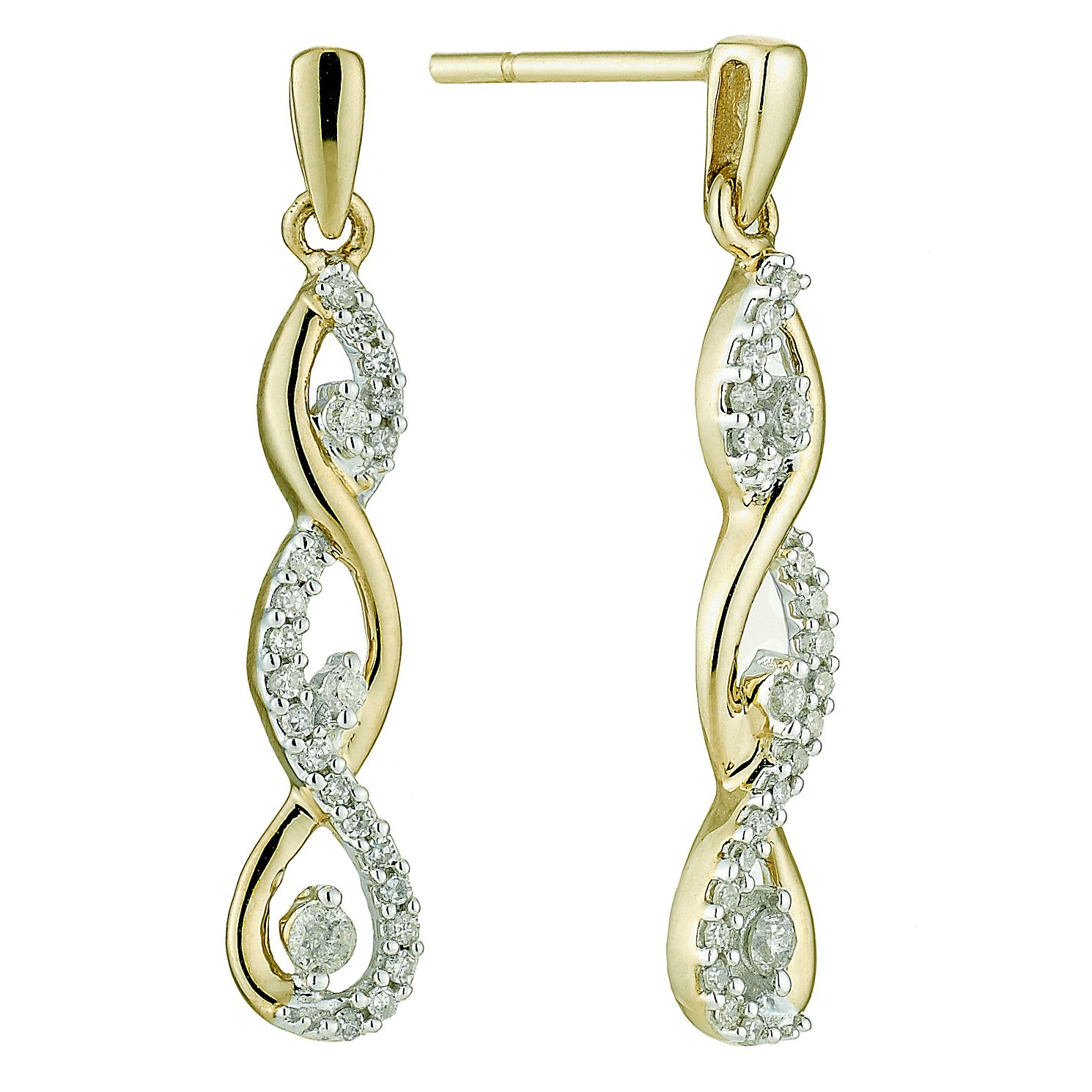 9ct Yellow Gold 0.25ct Total Diamond Twist Drop Earrings - Product number 8690871
