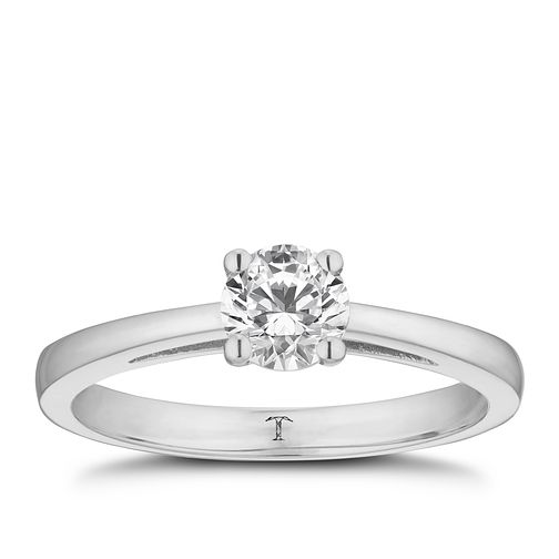 Tolkowsky platinum 1/2ct HI-SI2 diamond ring - Product number 8699569