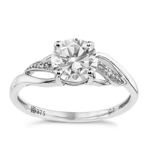 9ct white gold cubic zirconia solitaire ring - Product number 8707332