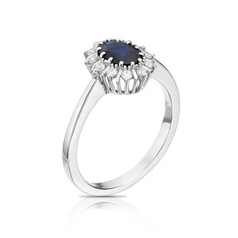 18ct White Gold Sapphire & 0.15ct Diamond Ring - Product number 8731012