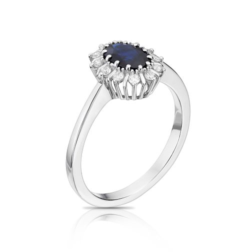 18ct white gold diamond & sapphire ring - Product number 8731012