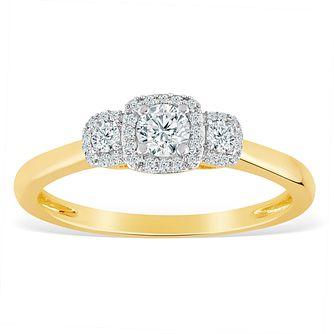 9ct Yellow Gold 1/4ct Diamond Three Stone Halo Ring - Product number 8779988