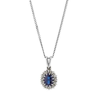 18ct white gold sapphire & diamond cluster pendant - Product number 8812284