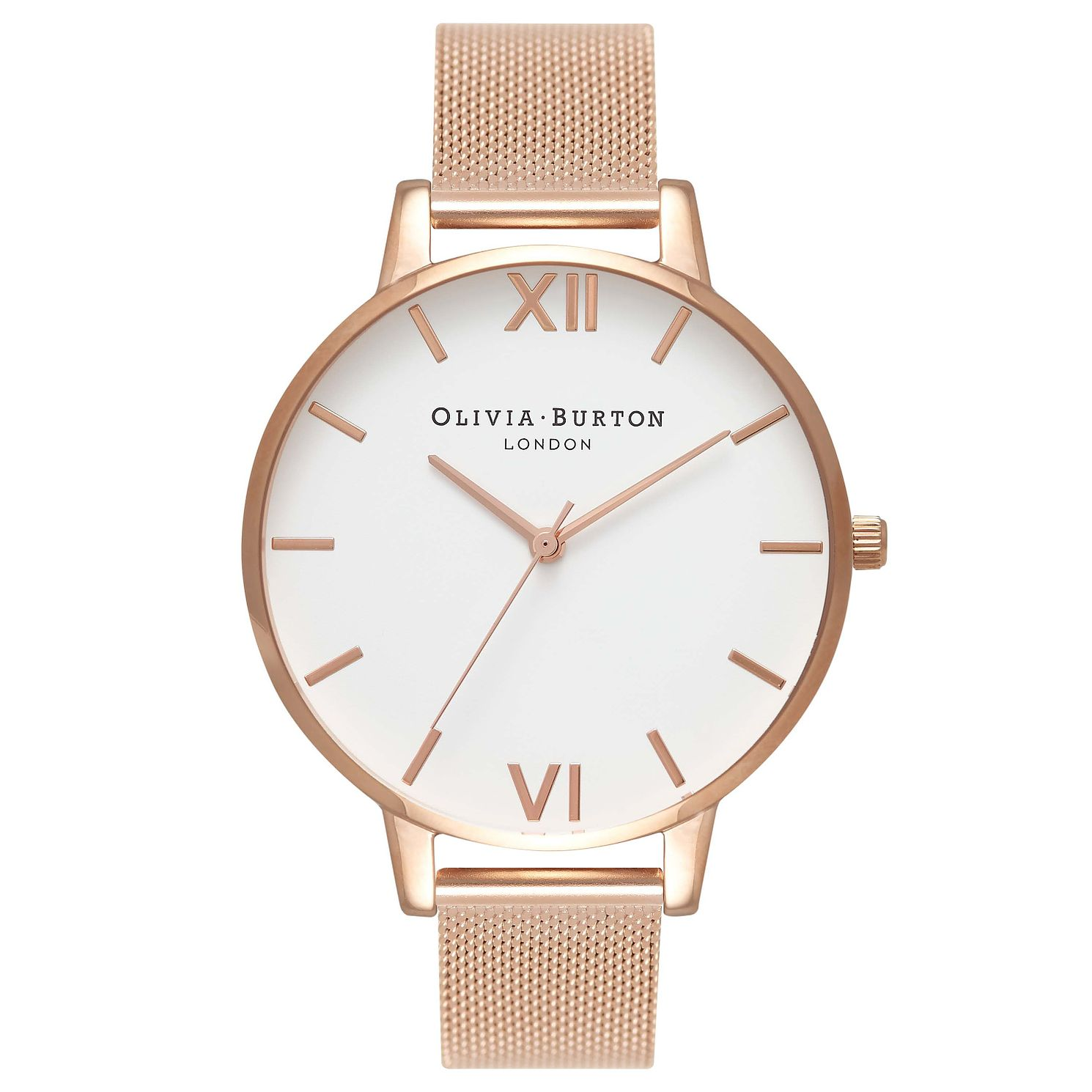 Olivia Burton Big Dial Rose Gold Metal Plated Mesh Watch - Product number 8817049