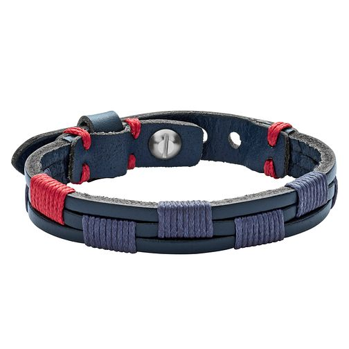 Fossil Men's Stainless Steel Blue & Red Leather Bracelet - Product number 8817170