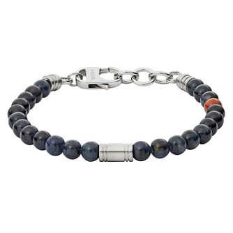 Fossil Men's Stainless Steel Blue & Red Bead Bracelet - Product number 8817200
