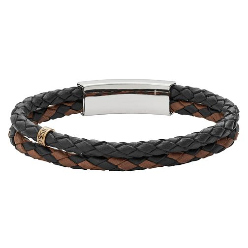 Fossil Men's Black and Brown Leather Bracelet - Product number 8817219