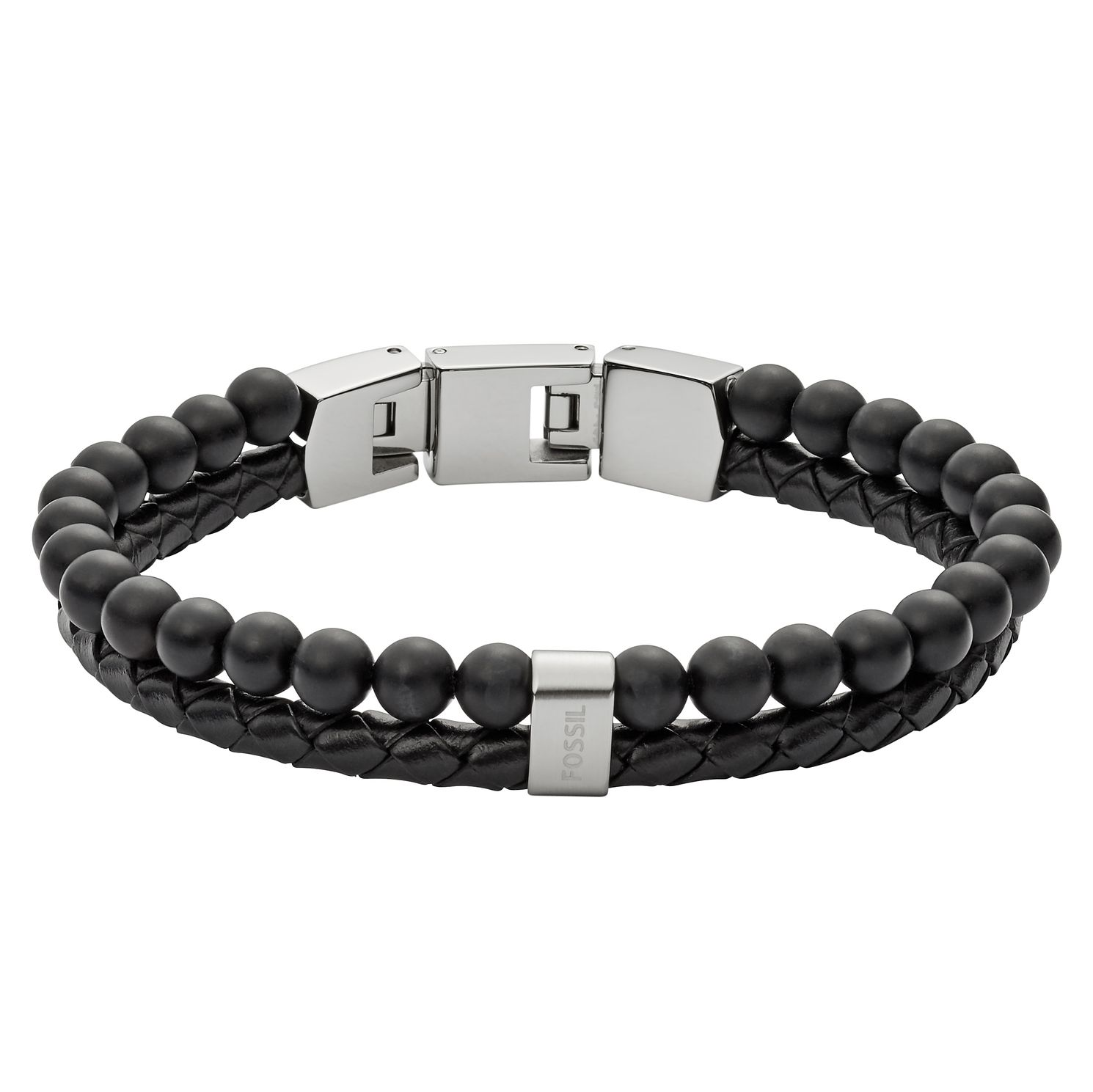 Fossil Men's Stainless Steel Black Leather Bead Bracelet - Product number 8817227