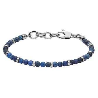 Fossil Men's Stainless Steel Blue Bead Bracelet - Product number 8817235