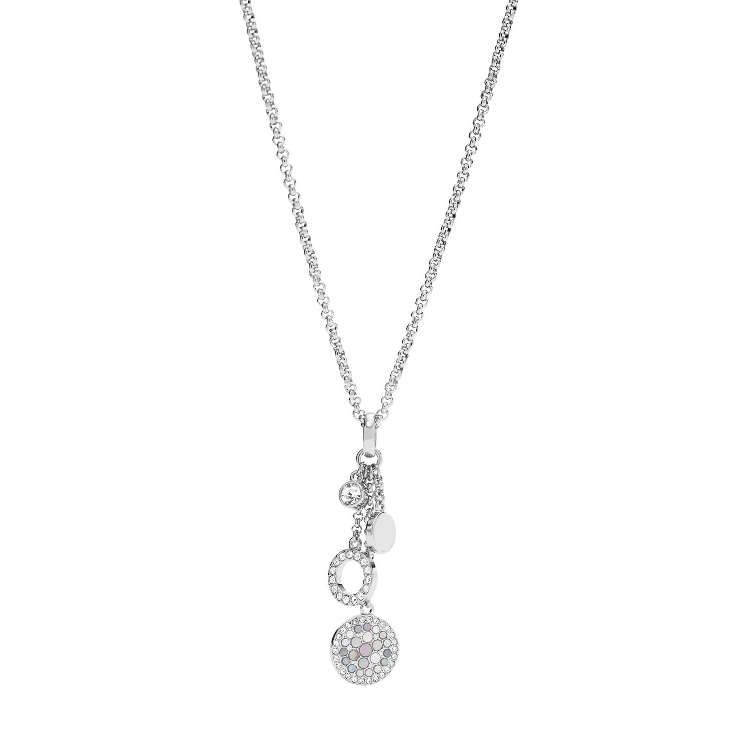 Fossil Ladies' Stainless Steel Stone Set Disc Necklace - Product number 8817294