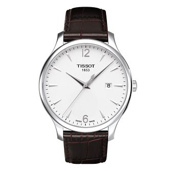 Men's Tissot Brown Leather Strap Watch - Product number 8894132