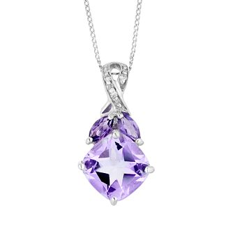 9ct White Gold Amethyst And Diamond Pendant - Product number 8896518