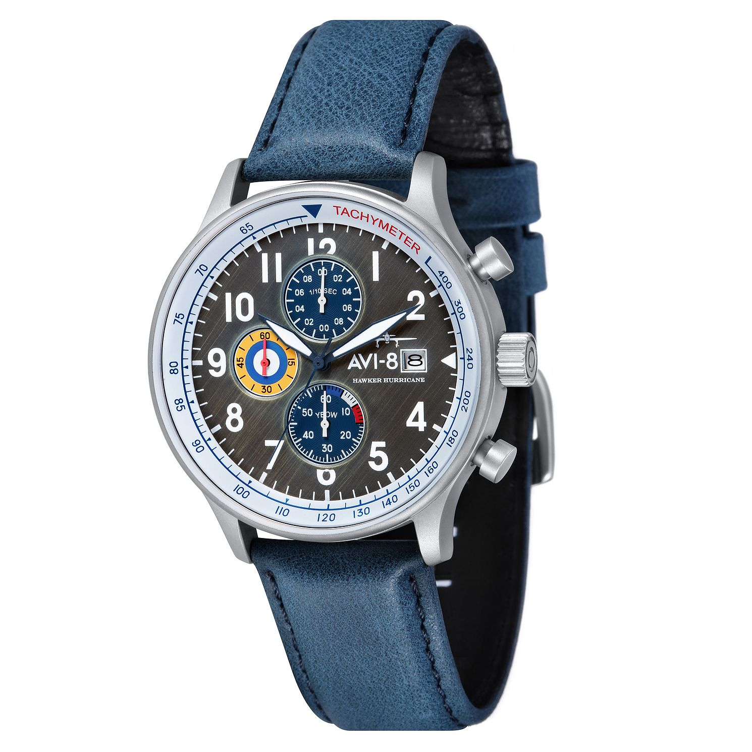 AVI-8 Men's Hawker Hurricane Blue Leather Strap Watch - Product number 8901260