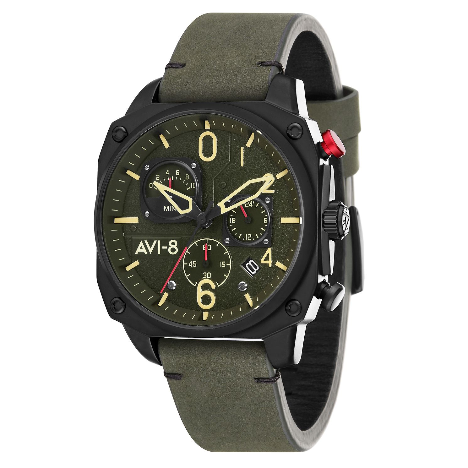 AVI-8 Men's Hawker Hunter Green Leather Strap Watch - Product number 8901902
