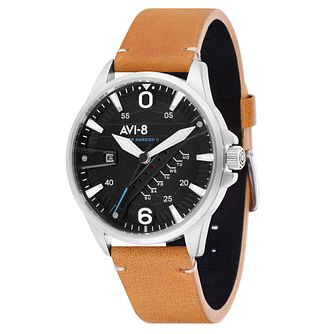 AVI-8 Men's Hawker Harrier II Brown Leather Strap Watch - Product number 8901953