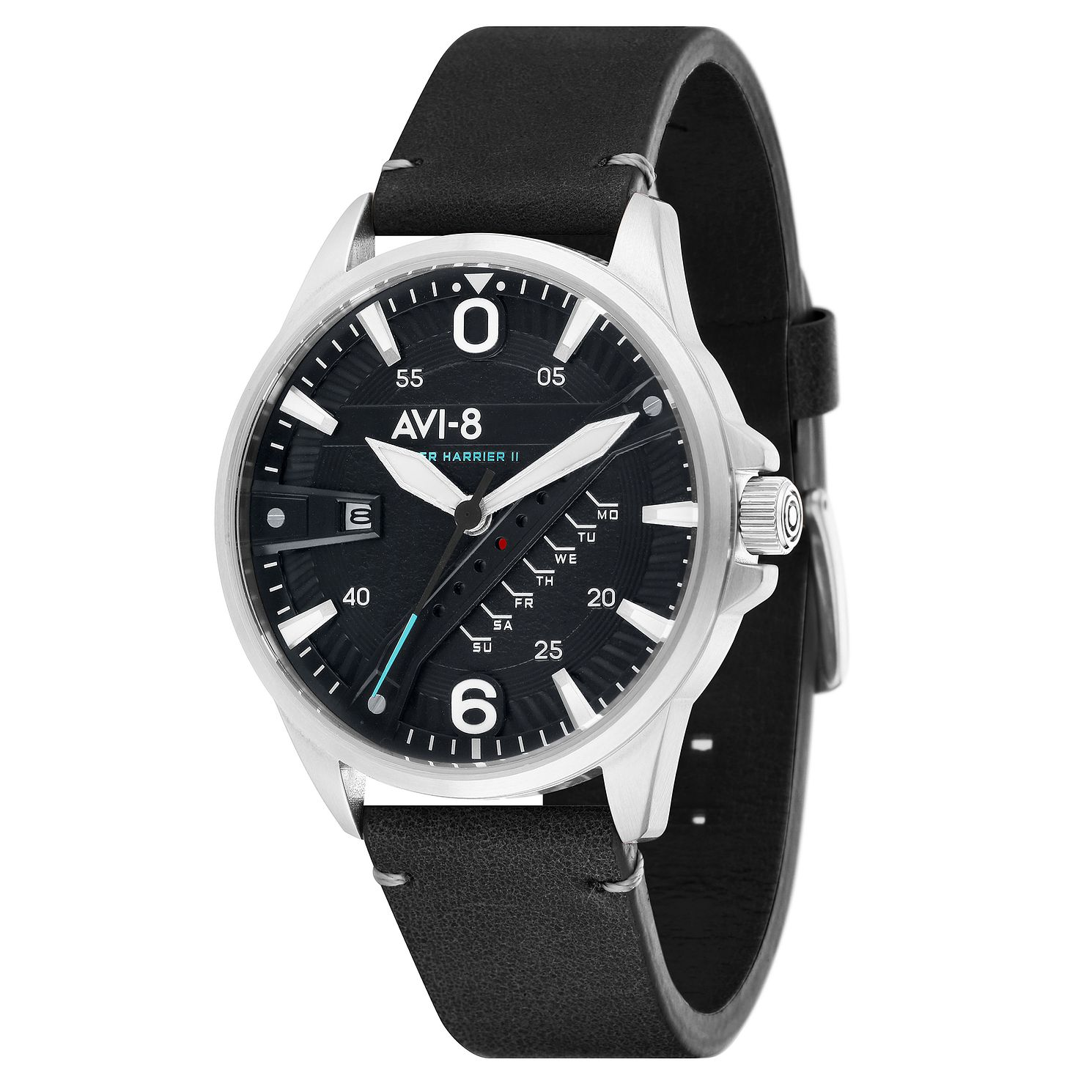 AVI-8 Men's Hawker Harrier II Black Leather Strap Watch - Product number 8901961