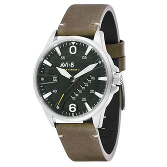 AVI-8 Men's Hawker Harrier II Green Leather Strap Watch - Product number 8901988